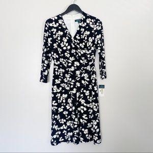 NWT LAUREN RALPH LAUREN Black Floral Jersey Dress